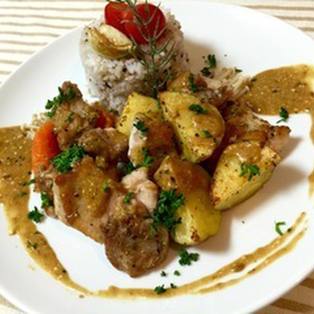 *若鶏とジャガイモのプロヴァンス風ロースト  〜カレー風味のヨーグルトソース〜*