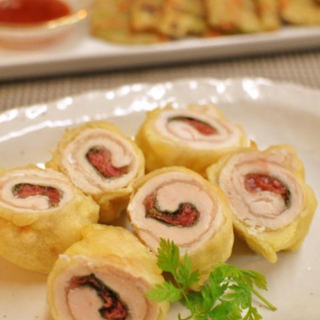 ささ身の梅肉大葉巻き天ぷら、作れなかったお弁当