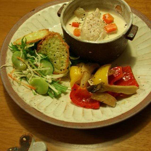 グリル空豆とチーズのサラダ