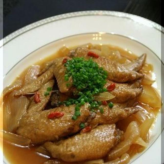 ◆手羽先の黒酢煮にクコの実を加えて♪~元気の出るおうちごはん♪