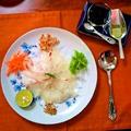 """鯛のお刺身盛り ~ 薬味と和えて戴く""""中国風""""の日本アレンジ"""