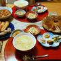 冷食も使った中華なダンナごはん。小鉢は私の作り置き6品で晩酌