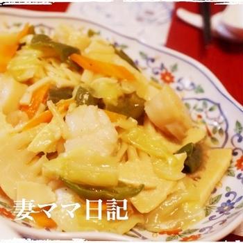 『牡蠣だし醤油』で「ホタテあんかけ焼きそば」♪ Fried Noodles