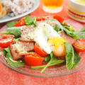 【モニター】サラダほうれん草とカリカリシャウベーコロンのサラダ温玉のっけ by アップルミントさん