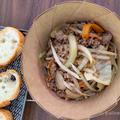 山キャンプ飯|焦がしにんにくが効いた豚そぼろと野菜炒め