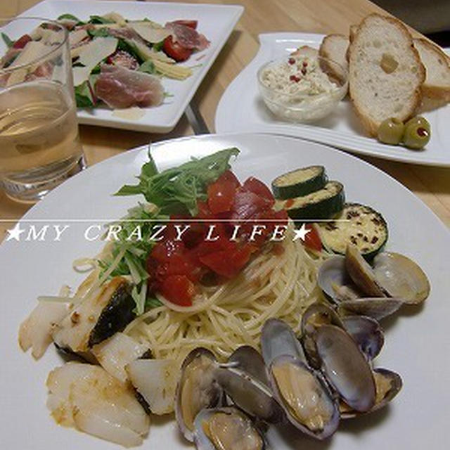 【レシピ】 冷たいトマトのボンゴレビアンコ 鯛のグリル添え
