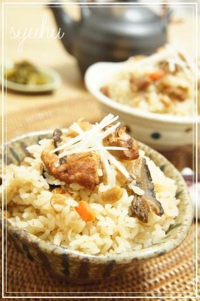 焼き鳥缶詰めと五目豆の炊き込み鶏五目ご飯