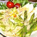 アスパラと茹で卵と生野菜のサラダ