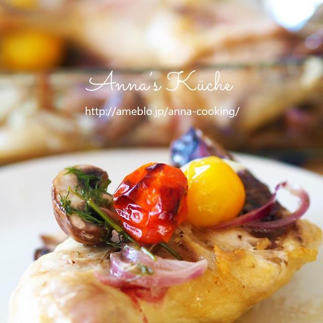 【主菜】鶏もも肉とミニトマトと野菜のグリル焼きと、天然の鶏だしでトマたまスープ。
