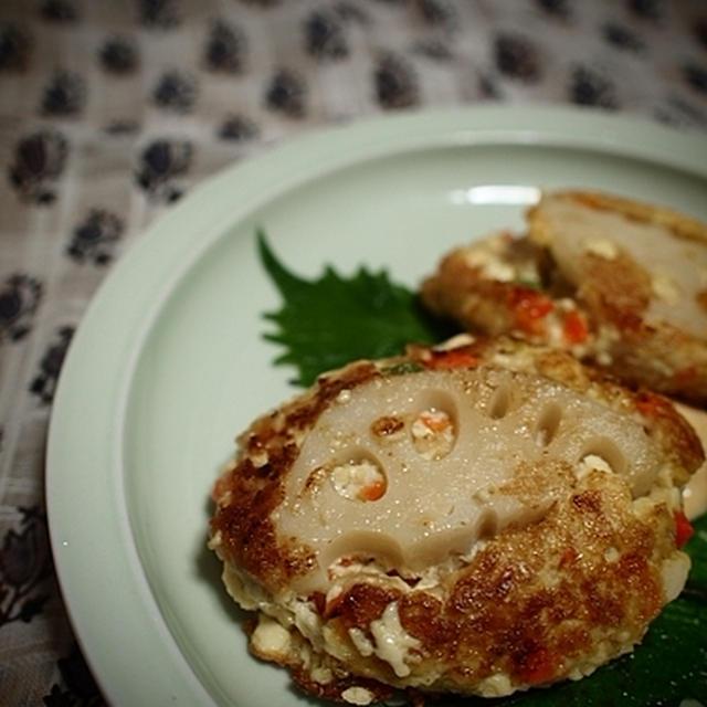 豆腐とオートミールの蓮根バーグ。 と 食堂かたつむり
