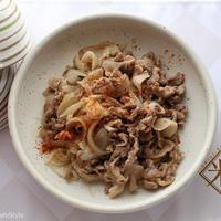 新たまねぎの肉炒め【レシピ】ボーソー米油部