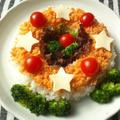 鮭フレークで、リース型のちらし寿司