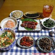 【夕食】セロリの葉クッパ・韓流風焼鳥・ナムル各種…