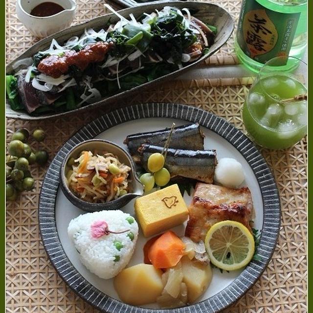 韓国風かつおの刺身サラダ!と、和ンプレート♪