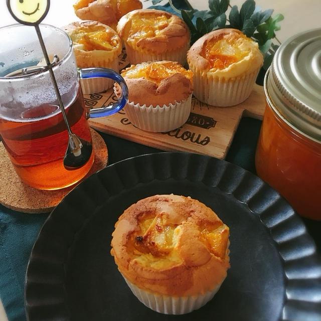 バター不使用*アップル&オレンジのふわっふわ生クリームマフィン