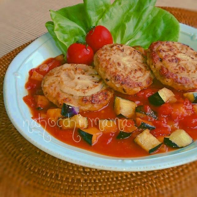 【美活GP】レンコンのヘルシー豆腐ハンバーグ&彩り野菜ソース