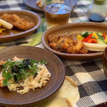 鮭の散らし寿司と豚カツのお家ごはん