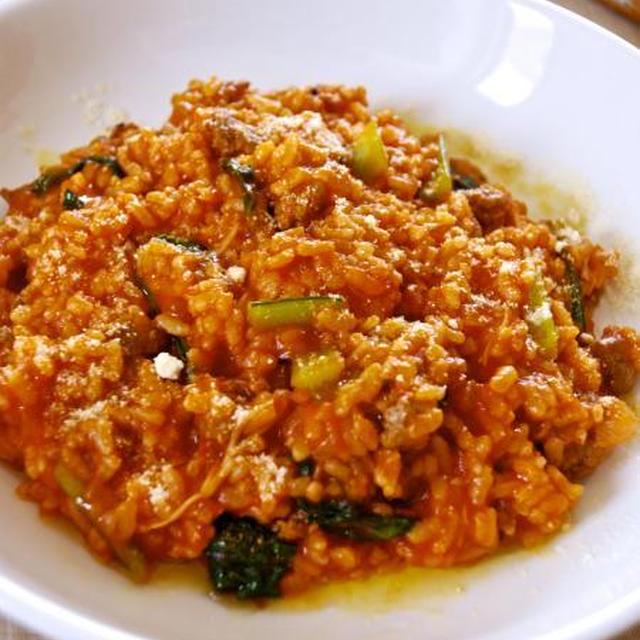 自家製サルシッチャと小松菜のリゾット