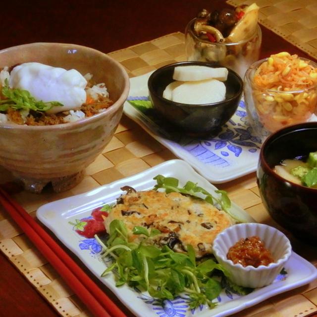 豆腐ハンバーグ, 醤油麹添え!!  キノコのバルサミコ醤油漬け!