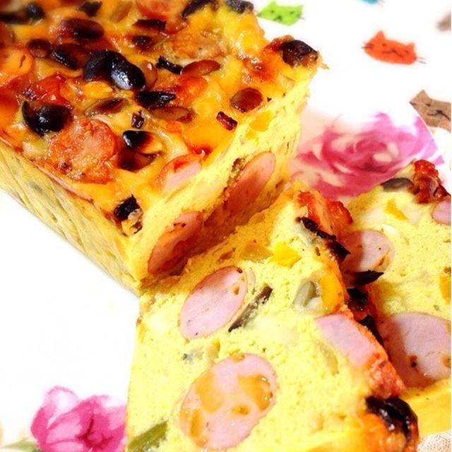 ソーセージと高野豆腐のケークサレ。