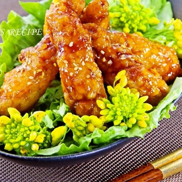 つくれぽ200人御礼♡鶏胸肉で簡単♪揚げない甘辛ウイング風照り焼きチキン運動会お弁当にも♥