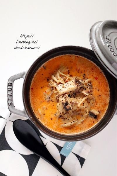 きのこの旨みたっぷり!めっちゃ簡単まろやか坦々スープ