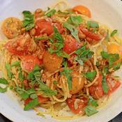 カレー風味の冷製トマトスパゲティ