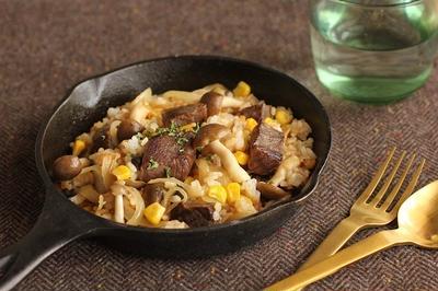 牛肉少しのかさ増しレシピ♪きのこ入りステーキライス