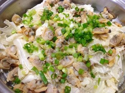 浅利&豚肉&白菜の水なし蒸し鍋 と カシュカシュさんの柚子胡椒ドレッシング