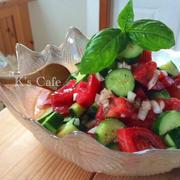スプーンで食べる!夏のトマトときゅうりのサラダ♡チョップドサラダ