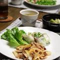豚肉のスイートチリソース炒め と さばじゃが と 白菜の生春巻き。