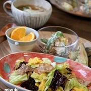 ふわふわたまごと春キャベツと豚肉の炒め物。ワンプレート。
