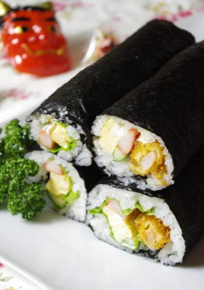 恵方巻き☆エビフライで名古屋巻き寿司