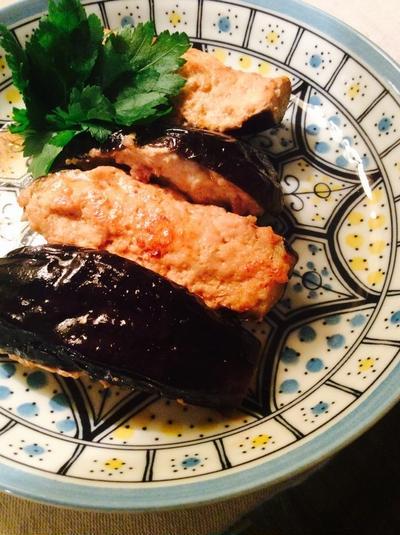 茄子の鶏ひく肉詰め ポン酢味*魚のアラと大根