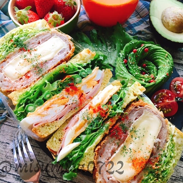 アボカドチーズパンで☆ミルフィーユ味噌カツのハムぱくサンド  by Misuzu