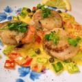帆立貝のサフランケッパークリームソース ~ 肉厚の貝が美味しい♫