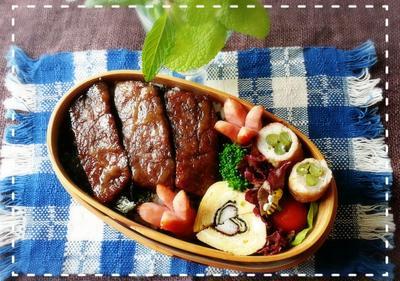 ステーキ丼弁当♡牛ギュッと愛情た~っぷり愛母弁当作ってま~す♬(^^)