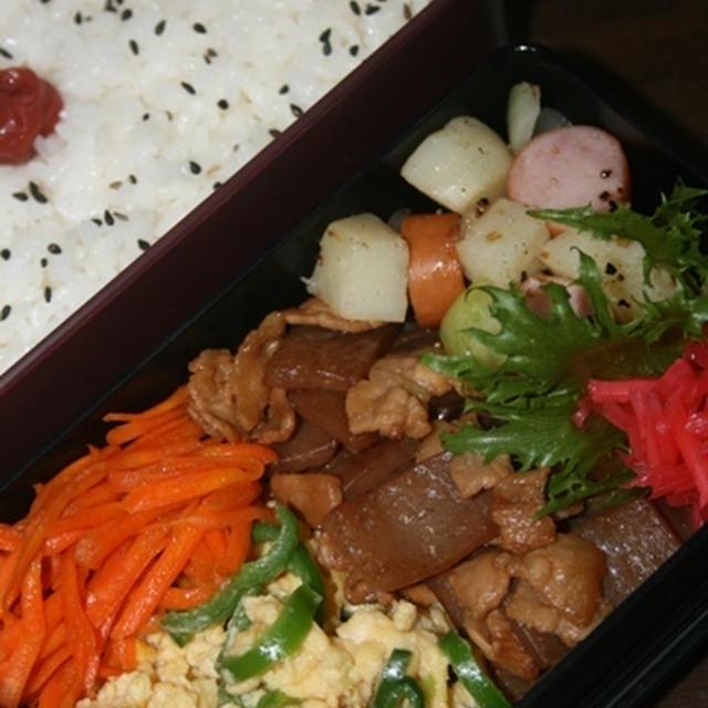 10月3日  豚肉と蒟蒻の甘辛炒め弁当(練習)