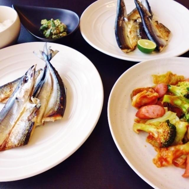 秋刀魚の開きと野菜のチリソース炒めなど