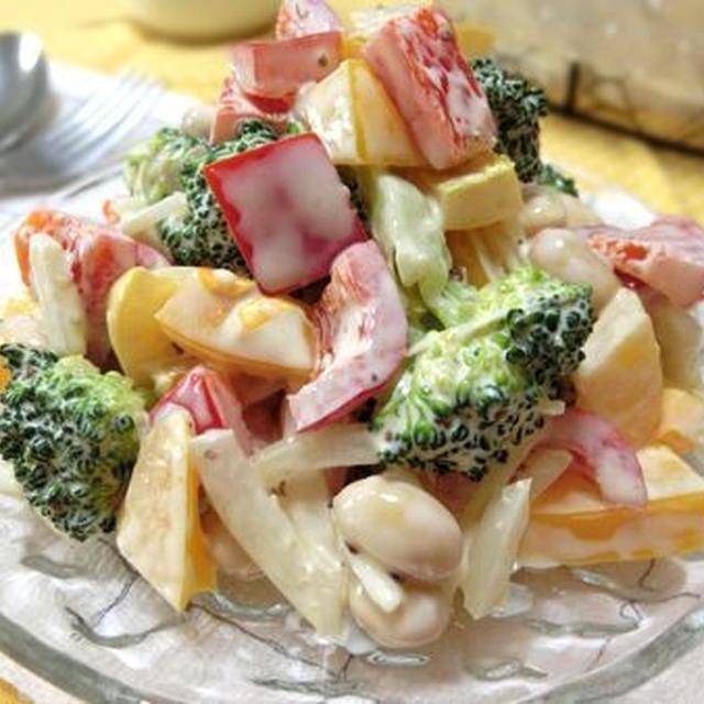 粒マスがきいてる♪ ブロッコリーとパプリカとお豆のデリ風サラダ