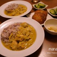 スリランカスパイスのチキンカレーライスと、ハムカツの晩ごはん