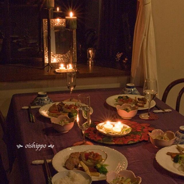 お箸でワインなクリスマスキャンドル卓