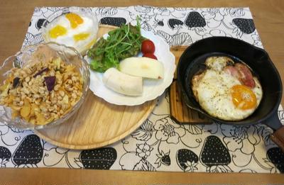 シリアルな朝食 と ピンクと白のガウラの花 と これな~んだ??