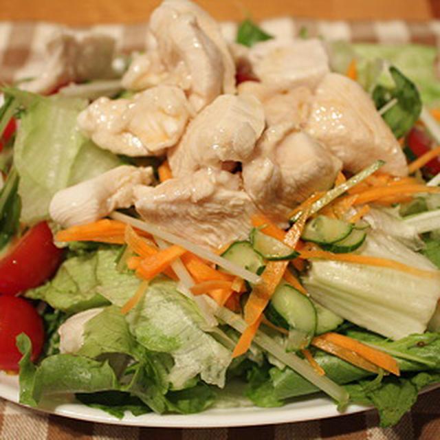 さっぱり鶏サラダ風&ソラマメのオイル焼き