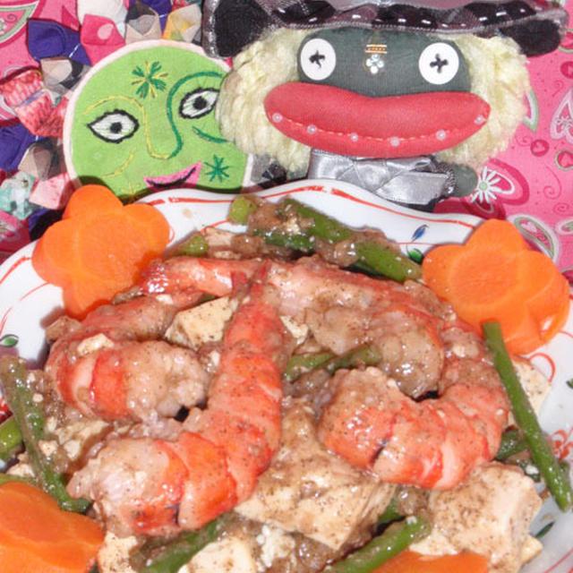 豆腐と海老の中華風炒め&もやしとネギのピリ辛炒め(お家カフェ)