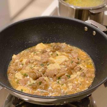 【レシピ】重ねて放置でできるきのこ入り麻婆豆腐〜簡単、時短
