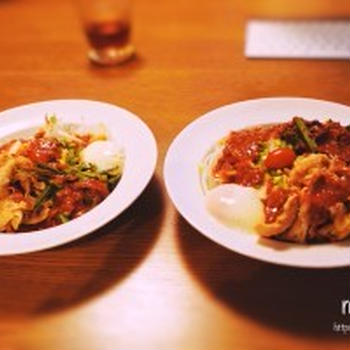 豚しゃぶとニラキムチのビビン麺で、簡単お家ランチ