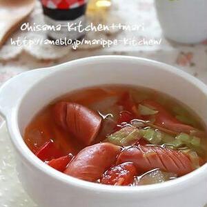 鍋不要!レンジ5分でほっこり温まる「具入りスープ」