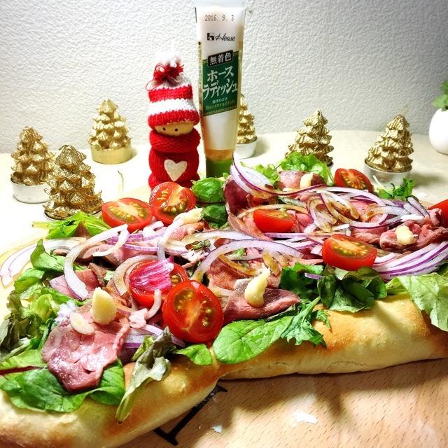ローストビーフサラダピザ