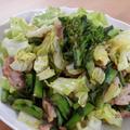 菜の花と春キャベツの豚肉ハーブソテー